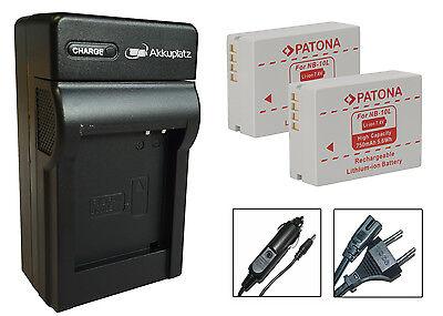 2 x Akku + Ladegerät für Canon PowerShot G1 X, G3 X, G15, G16 - NB-10L ()