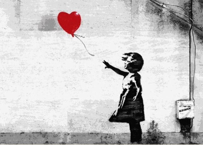 Banksy Valentine Red Love Balloon Girl street art Canvas 11 x 14 inch Print