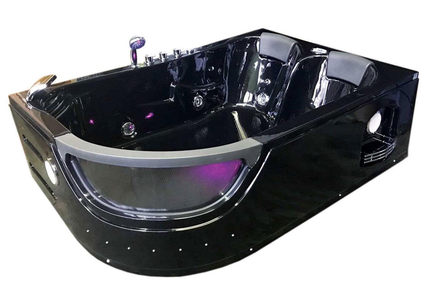 whirlpool bathtub hydrotherapy black hot tub double