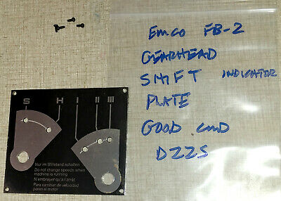 Emco Fb-2 Mill Drill Super 11 Lathe Parts Gear Shift Plate D22s