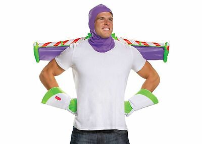 Mens Toy Story Buzz Lightyear Easy Costume Kit Halloween Hood Gloves Jet Pack