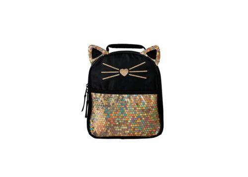 Here Kitty Lunch Bag - Black/Gold sequin new