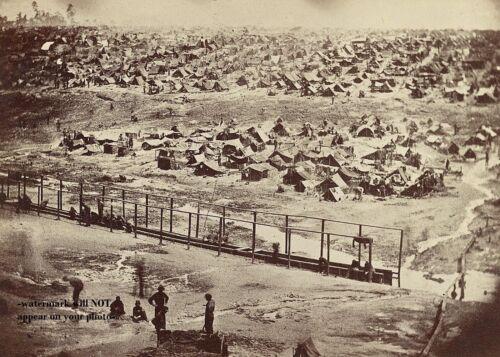 Andersonville Confederate Prison PHOTO Union Prisoners 1864 Rare View Civil War