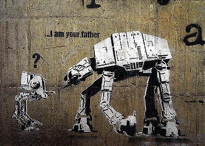 Banksy I am your Father Star Wars 8 x 10 inch Canvas Print Street Art Graffiti