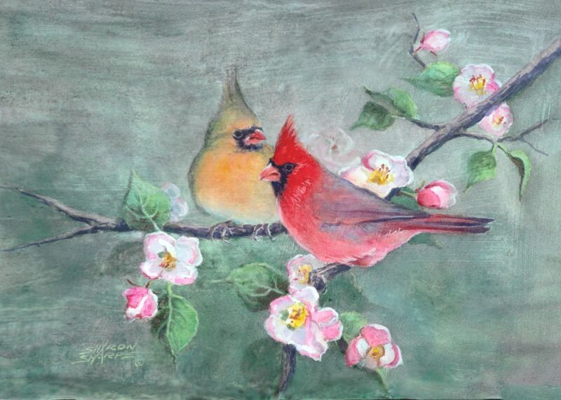 CARDINALS & APPLE BLOSSOMS by Sharon Sharpe L@@K