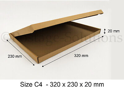 5x C4 A4 SIZE BOX 320x230x20mm ROYAL MAIL LARGE LETTER POSTAL CARDBOARD PIP