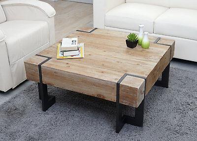 Holz Quadratischen Tisch (Couchtisch HWC-A15, Wohnzimmertisch, Tanne Holz rustikal massiv)