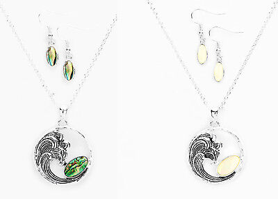 Metal Wave Abalone Shell  Mother Of  Pearl Pendant   Earrings Set