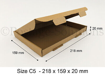 75x C5 A5 SIZE BOX 218x159x20mm ROYAL MAIL LARGE LETTER POSTAL CARDBOARD PIP