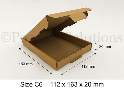 50x C6 A6 SIZE BOX 112x163x20mm ROYAL MAIL LARGE LETTER POSTAL CARDBOARD PIP
