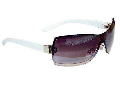 Sonnenbrille Brille Weiß Silber Rahmen Lila Gläser Monoglas Sunglasses 35 ()