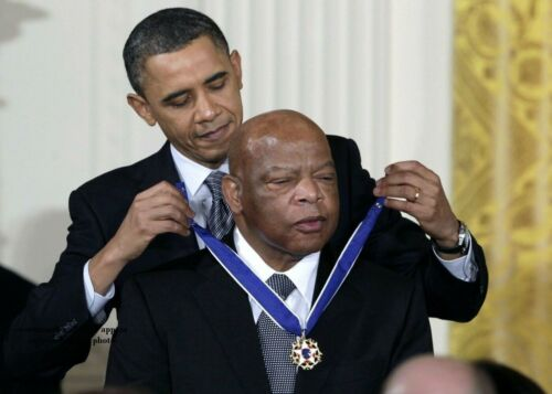Barack Obama John Lewis PHOTO Black Civil Rights Hero Medal Award Ceremony