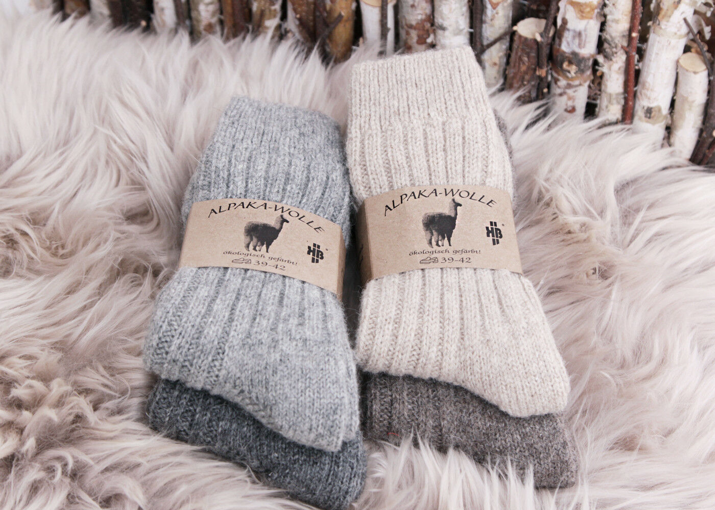 2Paar Alpaka Natur Socken Wollsocken 100% Wolle Herren Damen dick dünn gestrickt