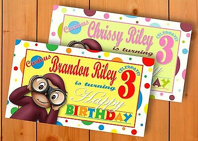 Curious George Birthday Banner Personalized Custom Design Indoor Outdoor Party - Curious George Birthday Banner