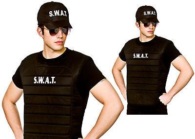 Erwachsene Schwarz Swat Team Weste und Kappe Hut Bulle Fbi American Kostüm - Swat Kostüm Hut
