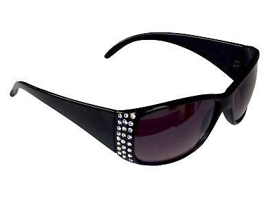 Damenbrille Brille Schwarz mit Strass Sonnenbrille Lila Gläser Sunglasses M 38