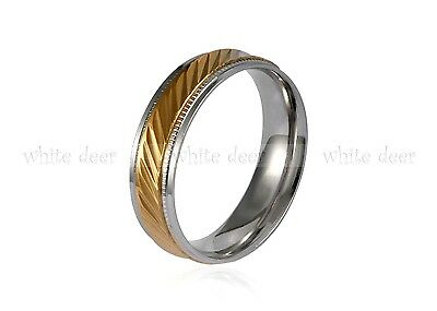 - 6 mm Men's Women's Gold Stainless Steel Silver Trim Tilt Band Ring Comfort Fit