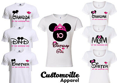 Minnie Birthday Girl Family Matching T-shirts. disney Pink Theme party shirts  - Girl Themed Parties