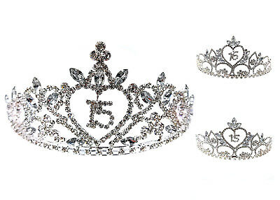Sweet 15 & Sweet 16 Birthday Clear Crystal Rhinestone Tiara Crown Headband