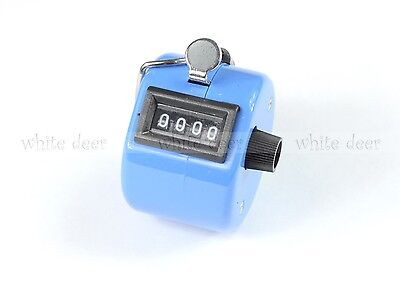 4 Digit Number Dual Clicker Golf Hand Tally Counter Blue Color Handy Convenient