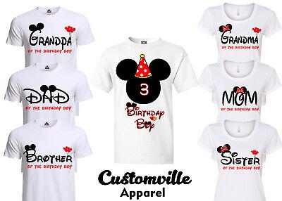 Birthday Boy Mickey Family Matching T-shirts. disney red Theme party shirts  (Mickey Themed Birthday Party)