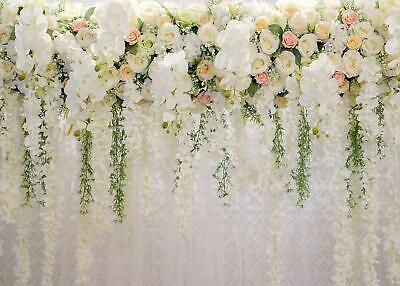 White 3D ROSE Floral Photo Backdrops Bridal Shower LARGE Wedding Flowers Wall - Rose Bridal Shower