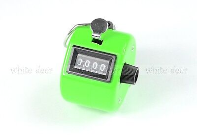 4 Digit Number Dual Clicker Golf Hand Tally Counter Green Handy Convenient