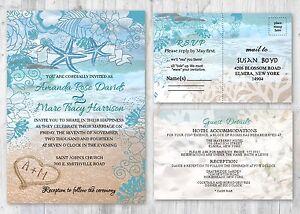 beach starfish wedding invitations with rsvp and accommodation cards set of 50 - Starfish Wedding Invitations