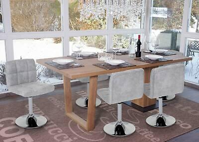 6x Esszimmerstuhl Cadiz, Drehstuhl, Wildlederimitat Chrom vintage grau - Polyester Wildleder Stuhl