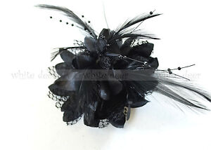 Wholesale Lady Feather Flower Brooch Pin Bridal Party Hair Holder Clip Headdress