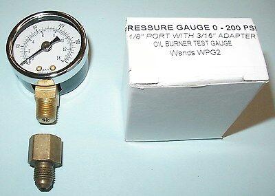 Oil Burner Fuel Pressure Test Gauge for Beckett, Suntec, Web