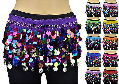 Silver Coins Multi Color Sequins Beads Belly Dance Hip Scarf Wrap Chiffon