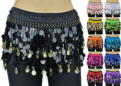 Solid Sequins Beads Belly Dance Hip Scarf Wrap Chiffon Gold Silver Coins - Gold Chiffon Hip Scarf
