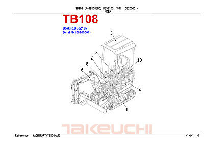 New Takeuchi Tb108 Mini Digger Excavator Parts Manual