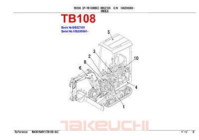 New Takeuchi Tb108 Mini Digger Excavator Parts Manual