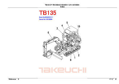New Takeuchi Tb135 Excavator Parts Manual
