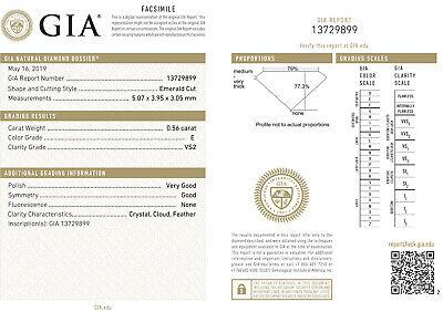 GIA 0.56 carat Emerald cut Diamond Engagement 14k Ring, E color VS1 clarity 1