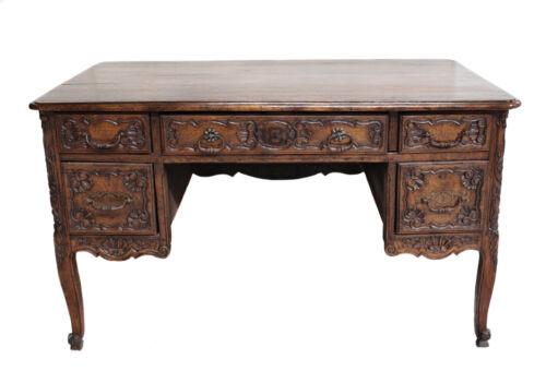 19th century Hardwood Walnut Pedestal Desk with hand carved panels