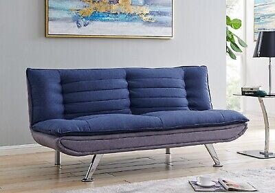 Sofa Bed Padded Light Grey Base/Blue Top Fabric Sofa Bed Metal Feet Brand New