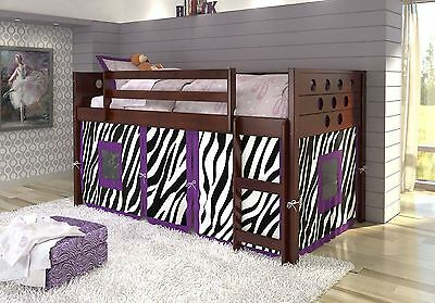 Twin Circles Low Loft/Bunk Bed for Girls with Tent Underneath Cappuccino Finish! - Low Loft Bunk Bed