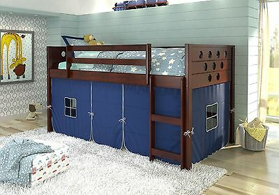 Twin Circles Low Loft/Bunk Bed for Boys with Tent Underneath Cappuccino Finish! - Low Loft Bunk Bed