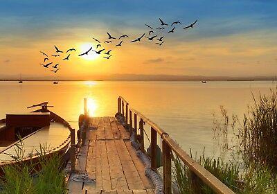 XXL Poster 100 x 70cm (S-849) Steg am Meer mit Boot und Vögeln bei Sonnenschein