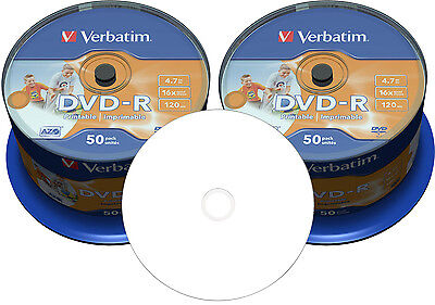 100 Verbatim DVD-R 4,7GB 16x No-ID voll Bedruckbar wide photo printable Spindel