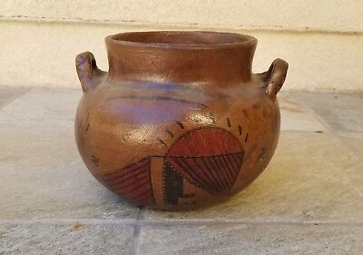 RARE VINTAGE NATIVE AMERICAN INDIAN POTTERY HANDLED VASE BOWL – MARICOPA STYL