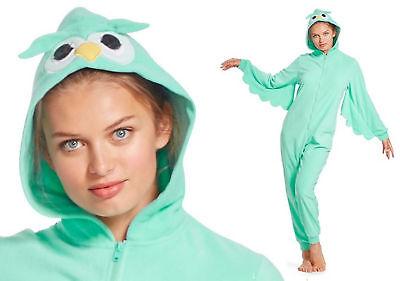 NICK AND NORA Hooded Aqua OWL Fleece Pajamas Woman Union Suit  One Piece-MED