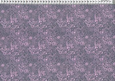 Baumwolljersey - Blumen Ornamente rosa grau