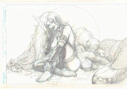 Dragon Slayer Babe Pencil Piece - 2006 Signed art by Joyce Chin