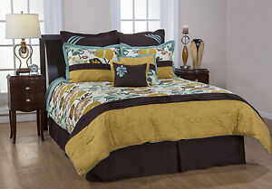 8 pcs queen king tropical flower garden turquoise brown yellow comforter set ebay. Black Bedroom Furniture Sets. Home Design Ideas