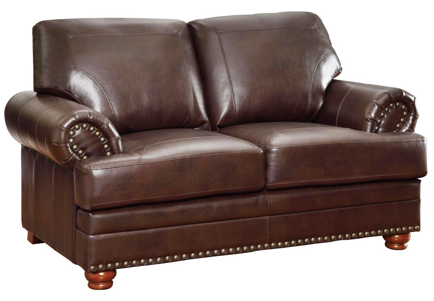 Awe Inspiring Details About Traditional Antique Brown Bonded Leather Loveseat W Rolled Arms Nailhead Trim Bralicious Painted Fabric Chair Ideas Braliciousco