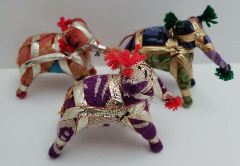 3 Handmade Mini Stuffed Elephants India Watercolor Cloth & Wrapped Ribbon Art